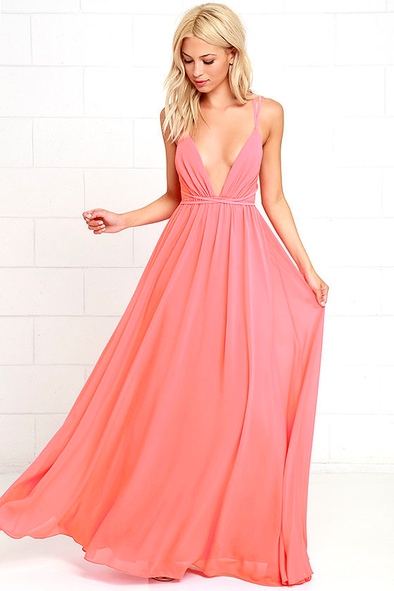Coral Pink Dress - Maxi Dress - Pink Gown - $86.00
