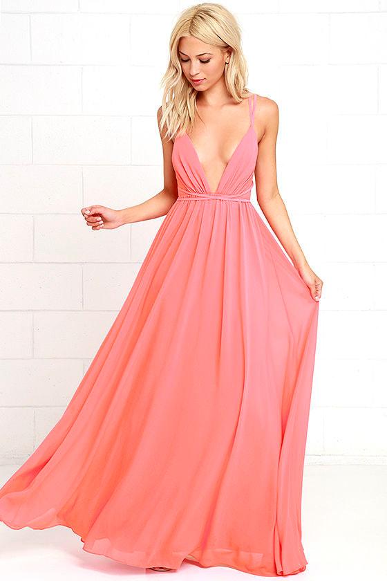 Coral Chiffon Maxi Dress