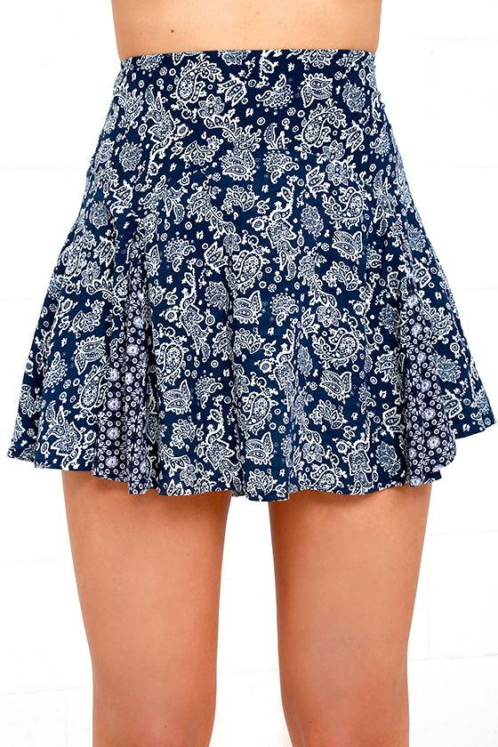 ivory and navy blue mini skirt paisley print skirt