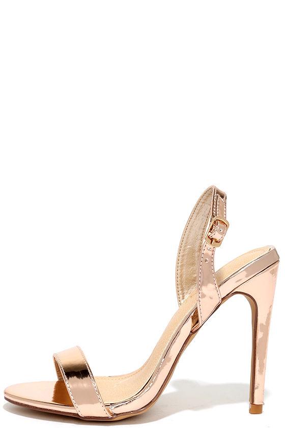 Chic Rose Gold Heels - Metallic Heels - Slingback Heels - $28.00