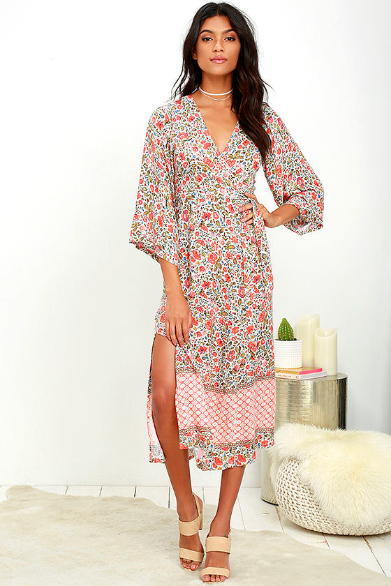 7a226b03467e Cute Beige Dress - Floral Print Dress - Wrap Dress - Midi Dress - $84.00