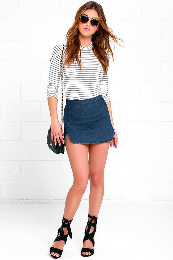 53abcaa0fbb430 Cute Medium Wash Skirt - Denim Skirt - Mini Skirt - $42.00