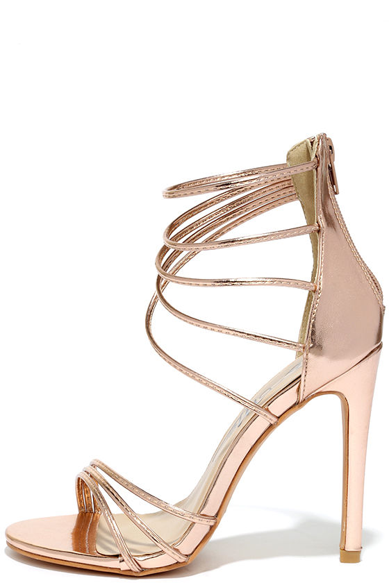 0da1a4c4731 High Heels - Rose Gold Sandals - Metallic Heels -  37.00