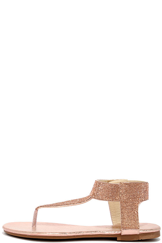 fc71c4756d1 Stunning Champagne Sandals - Rhinestone Sandals - Thong Sandals -  28.00