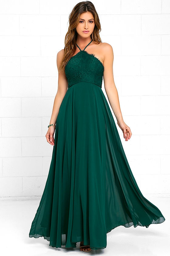Stunning Dark Green Dress Maxi Dress Halter Dress