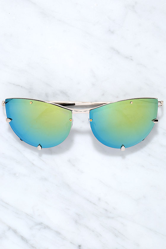 Spitfire Shark Tooth Gold and Green Mirrored Sunglasses 2