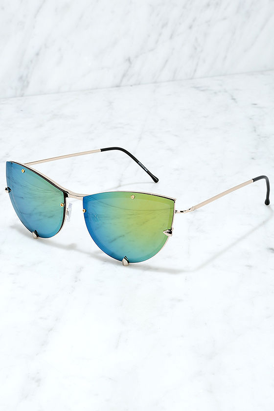 Spitfire Shark Tooth Gold and Green Mirrored Sunglasses 3