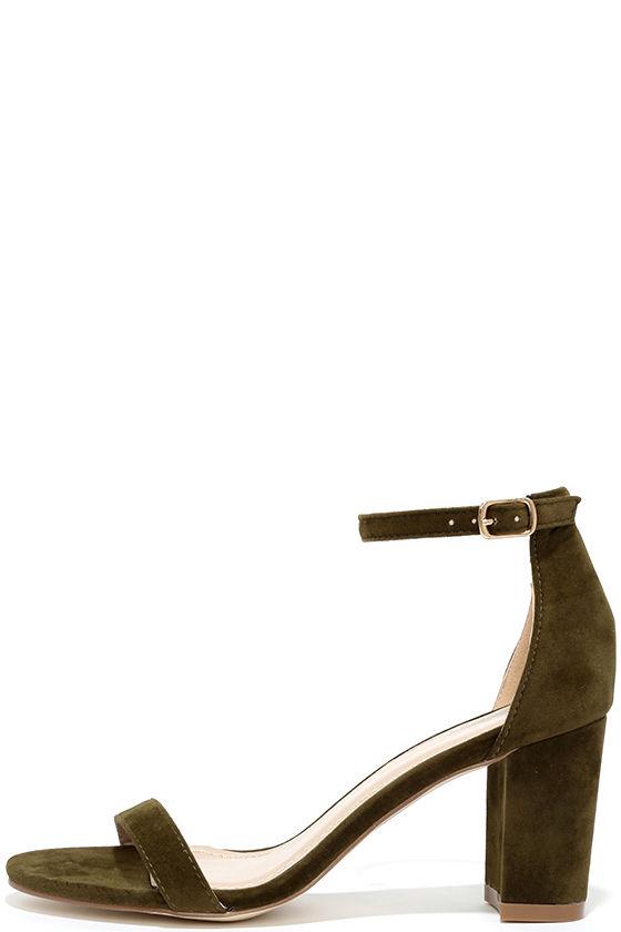 aea2ba65fb9 Olive Green Heels - Ankle Strap Heels - Vegan Suede Heels -  31.00