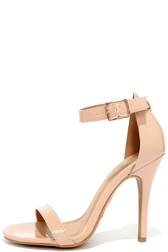 Cute Nude Heels - Ankle Strap Heels - Dress Sandals - $28.00