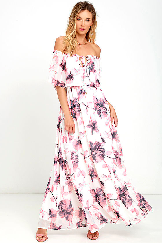Lovely Ivory Dress - Floral Print Dress - Off-the-Shoulder Dress ...