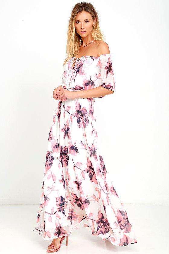 b2824c161cfa Lovely Ivory Dress - Floral Print Dress - Off-the-Shoulder Dress ...