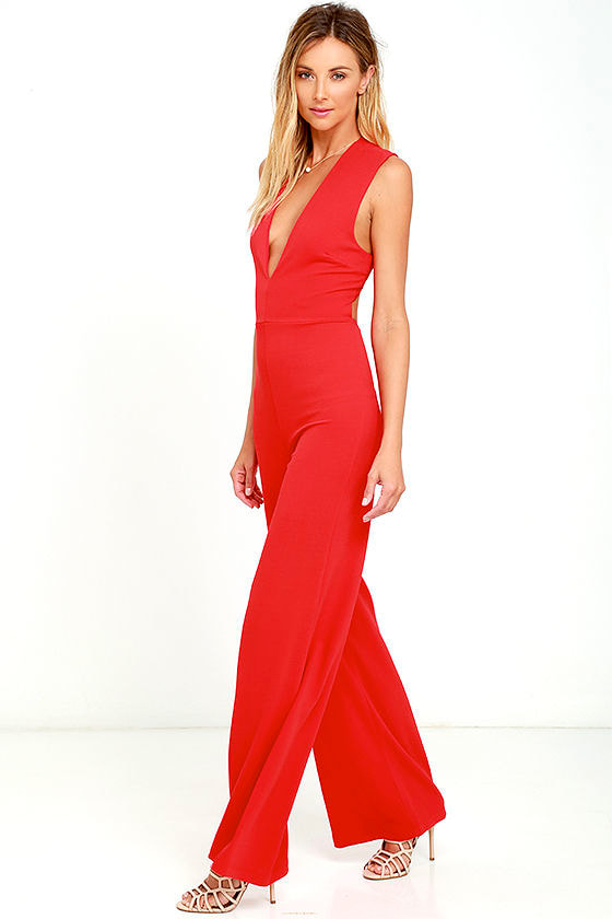 Sexy Red Jumpsuit - Sleeveless Jumpsuit - $49.00