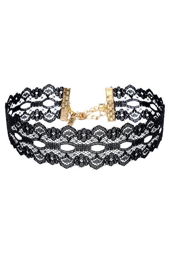 Vanessa Mooney Wistful Wishes Black Lace Choker Necklace 2