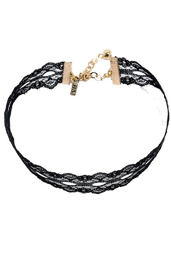 Vanessa Mooney Wistful Wishes Black Lace Choker Necklace 3