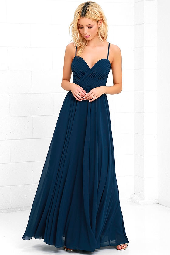 Navy Blue Dress - Maxi Dress - Long Gown - $88.00