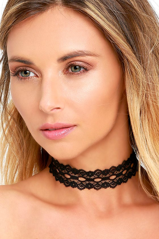 Vanessa Mooney Wistful Wishes Black Lace Choker Necklace 1
