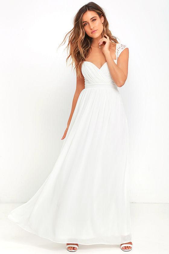 White Dress - Maxi Dress - Lace Gown - $78.00