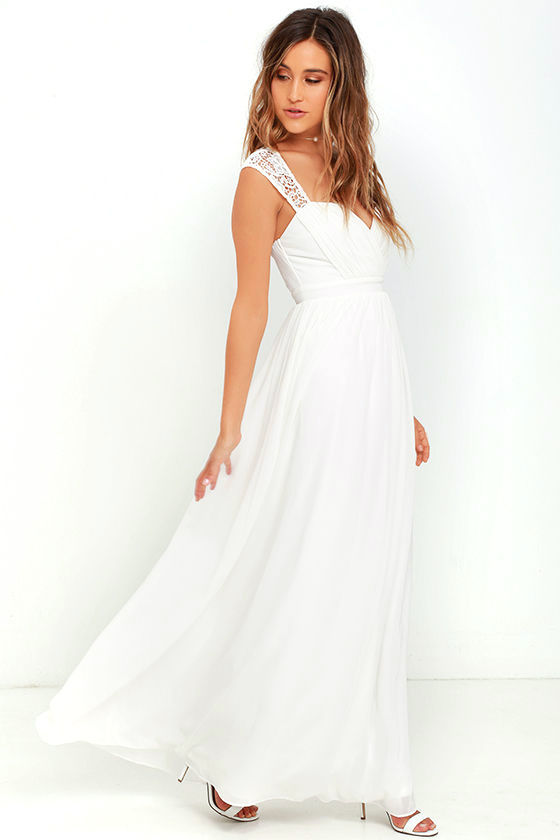 White Dress - Maxi Dress - Lace Gown - $78.00
