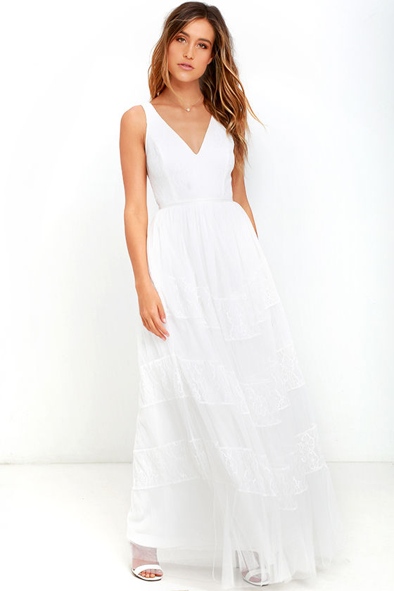 Lovely White Dress - Lace Dress - Maxi Dress - $78.00