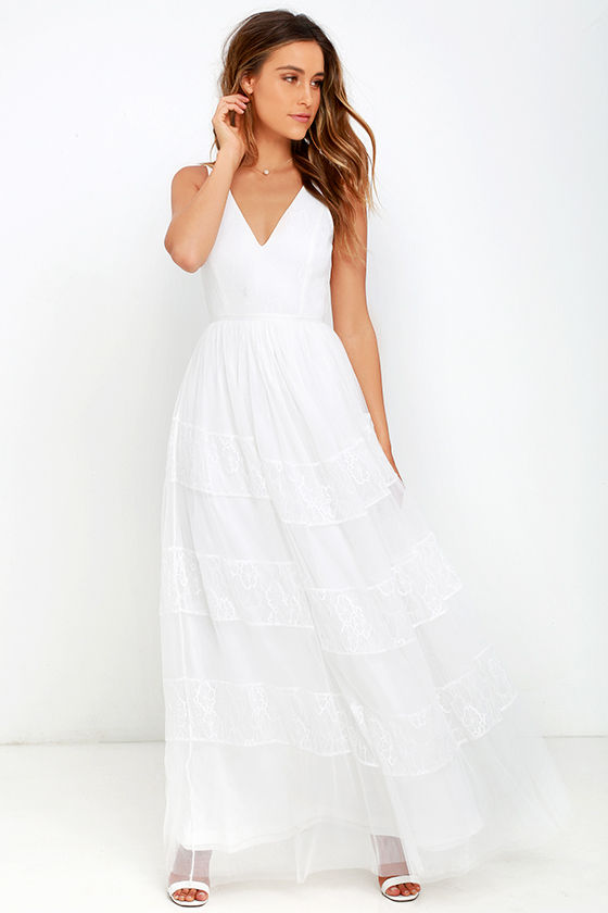 3061db319bc0a8 Lovely White Dress - Lace Dress - Maxi Dress - $78.00