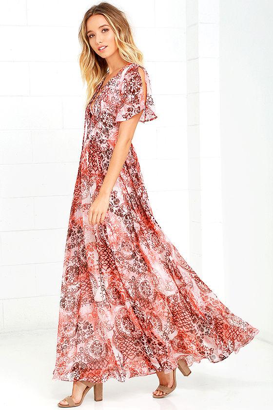 2f690d026b7 Lovely Blush Pink Dress - Print Dress - Maxi Dress - Lace-Up Dress ...