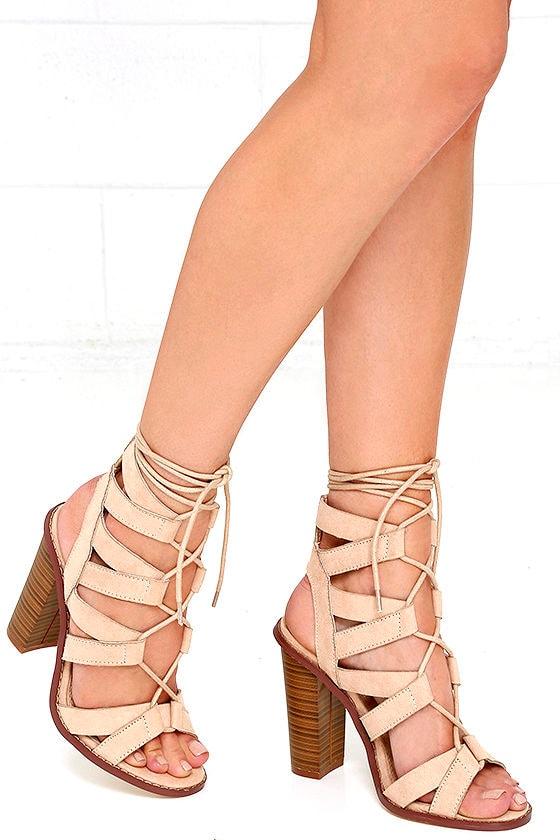 Cute Nude Heels - Vegan Suede Heels - Lace-Up Heels - $38.00