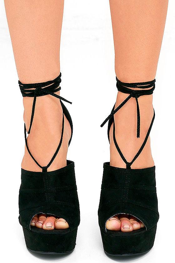 Platform Heels - Lace-Up Heels - Black Heels - $30.00