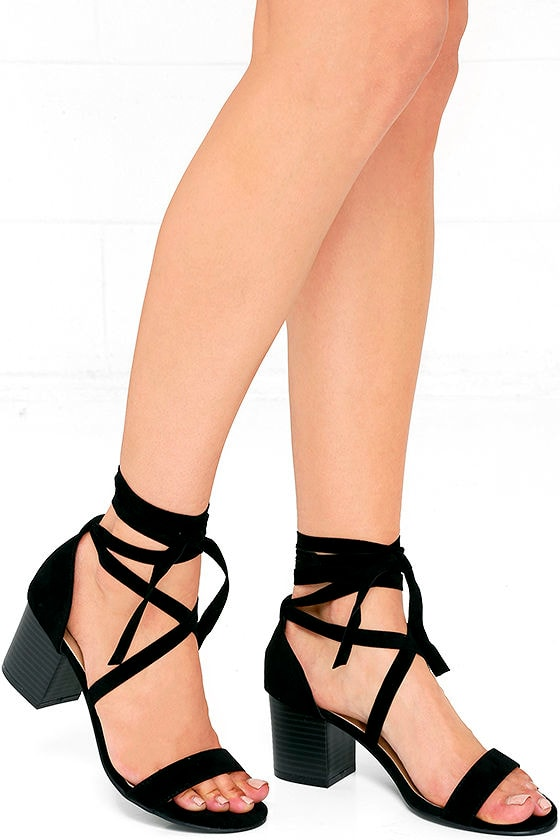 Chic Black Heels - Lace-Up Heels - Lace-Up Sandals - $31.00