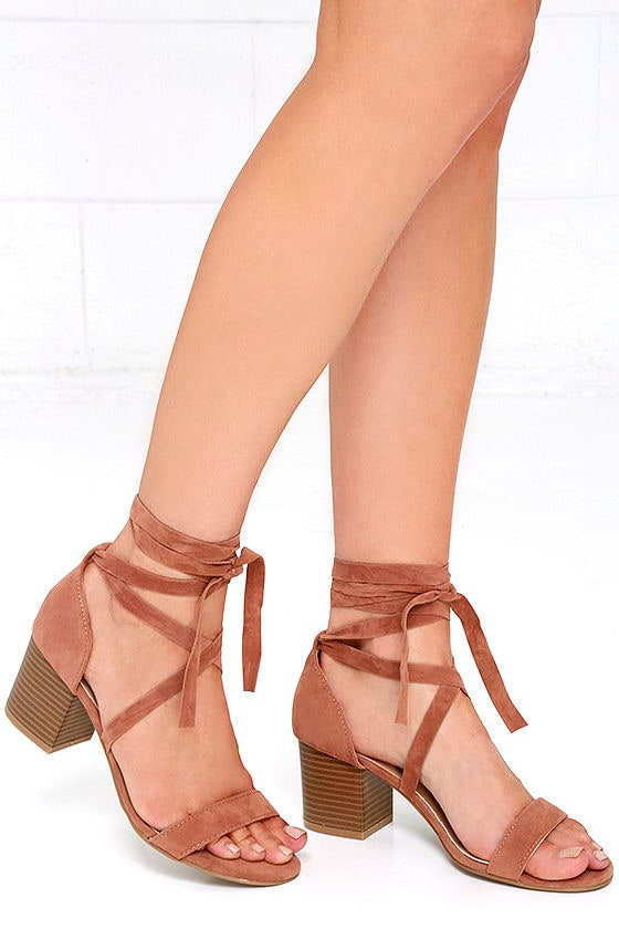 Chic Camel Heels - Lace-Up Heels - Lace-Up Sandals - $31.00