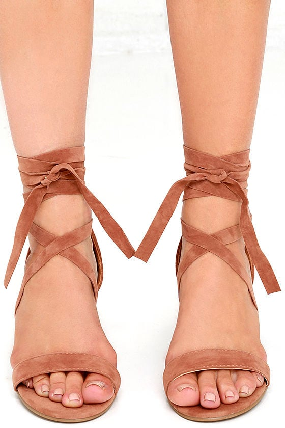 This Moment Camel Suede Lace-Up Heels 2