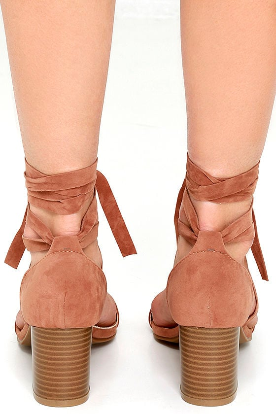 This Moment Camel Suede Lace-Up Heels 4