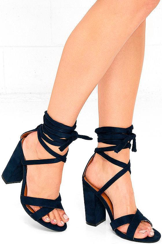 navy blue heels laceup heels vegan suede heels 3100
