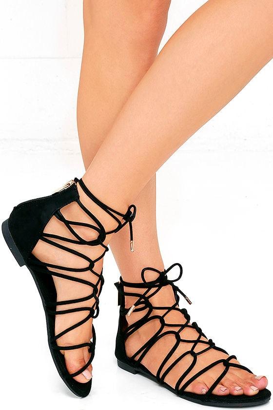 485e0a725cc Black Sandals - Gladiator Sandals - Lace-Up Sandals -  28.00