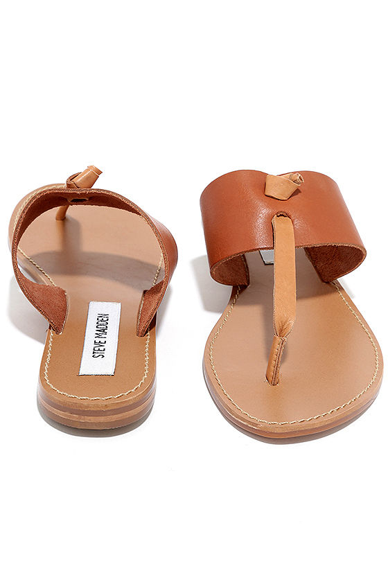 0430ad4dc52a Steve Madden Olivia - Tan Sandals - Leather Sandals - Thong Sandals ...