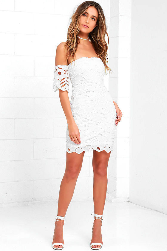 425988f6e27 Cute Off White Dress - Off-the-Shoulder Dress - Bodycon Dress - Lace ...