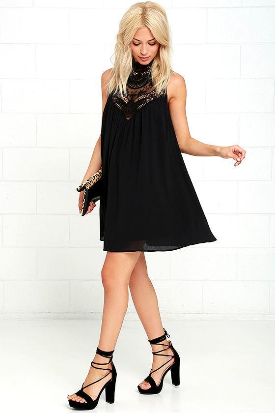 Asana Black Lace Swing Dress 2
