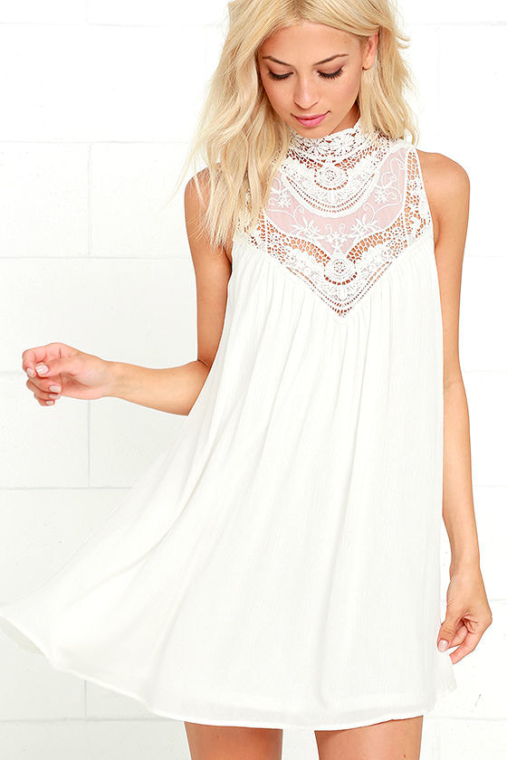 White Dress - Lace Dress - Swing Dress - $48.00