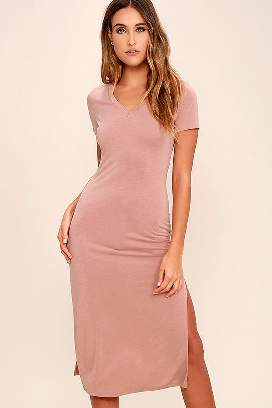 6a0f8f759d Cute Mauve Dress - T-Shirt Dress - Midi Dress - $42.00