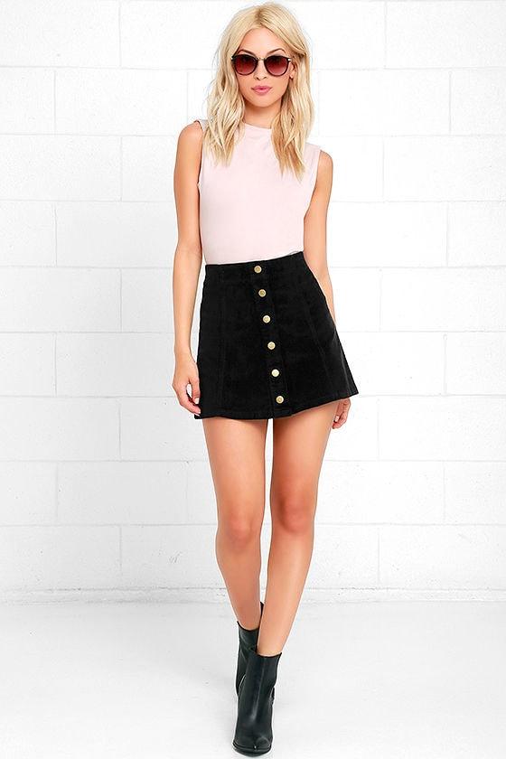 4f486c085e White Crow Austin Skirt - Black Skirt - Corduroy Skirt -  55.00