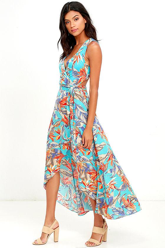 d7448672c Lovely Blue Floral Print Dress - Wrap Dress - High-Low Dress -  65.00