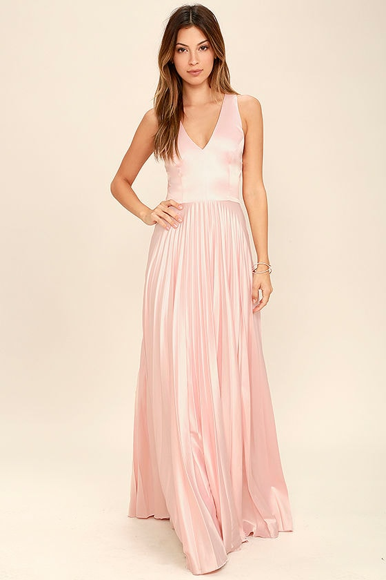 a9b671bdc28 Epic Night Blush Pink Satin Maxi Dress - Lovely Blush Pink Dress ...