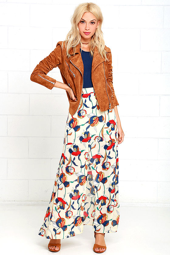 Cream Print Maxi Skirt - Floral Print Skirt - Maxi Skirt - $42.00
