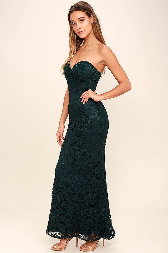 Dark Green Lace Dress - Strapless Dress - Lace Maxi Dress ...