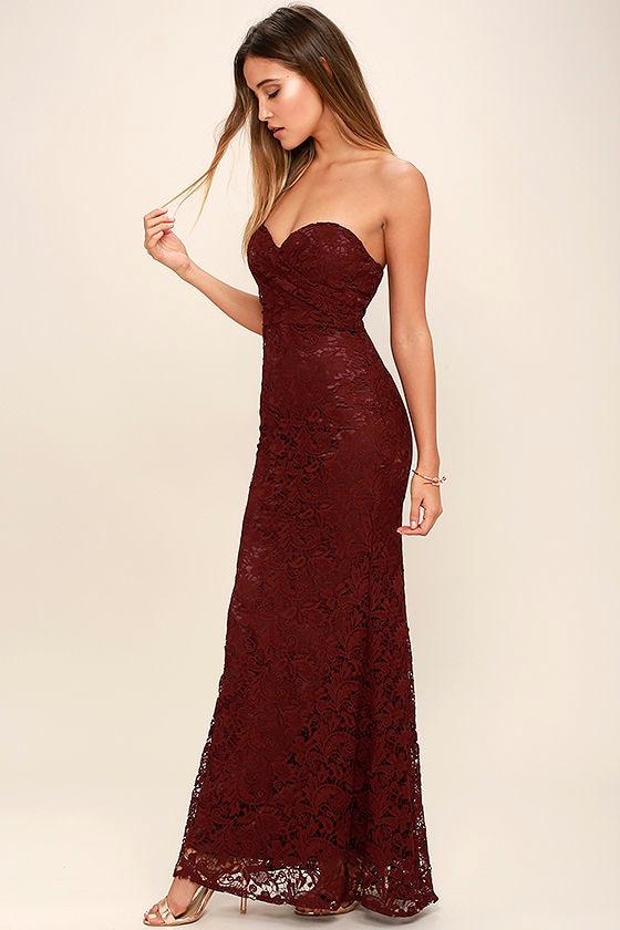 9796458da08d Burgundy Lace Dress - Strapless Dress - Lace Maxi Dress - Homecoming Dress