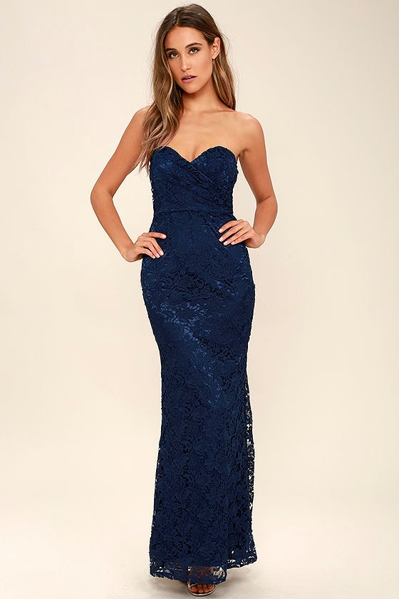 Navy Blue Lace Dress - Strapless Dress - Lace Maxi Dress ...