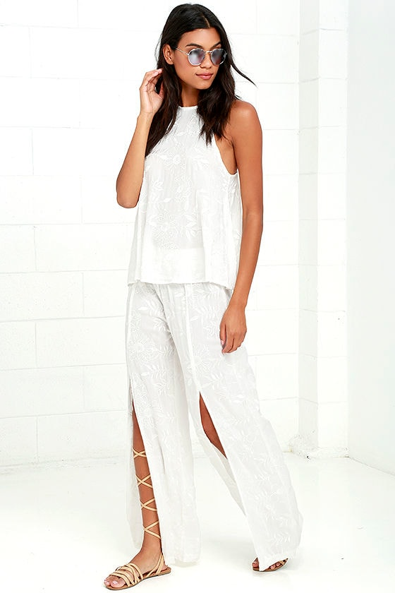 Lucy Love Sun Bum White Embroidered Pants 2