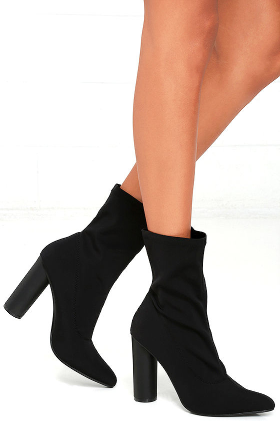 e80bf86d570f Pointed Toe Boots - Black Boots - Mid-Calf Boots - Scuba Knit Boots ...