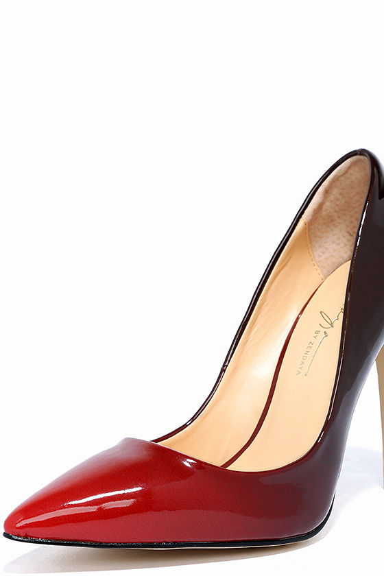 Daya by Zendaya Atmore II Red and Wine Patent Ombre Pumps 5