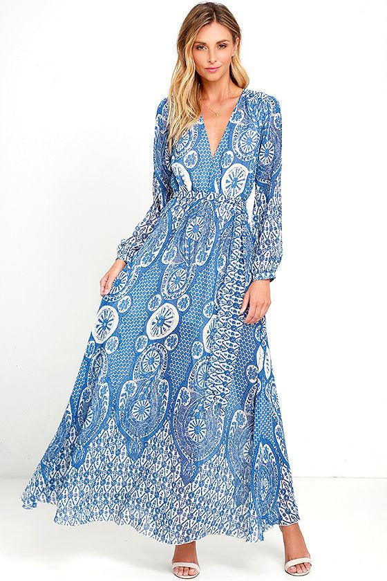 Lovely Cream and Blue Dress - Print Maxi Dress - Long Sleeve Maxi ...