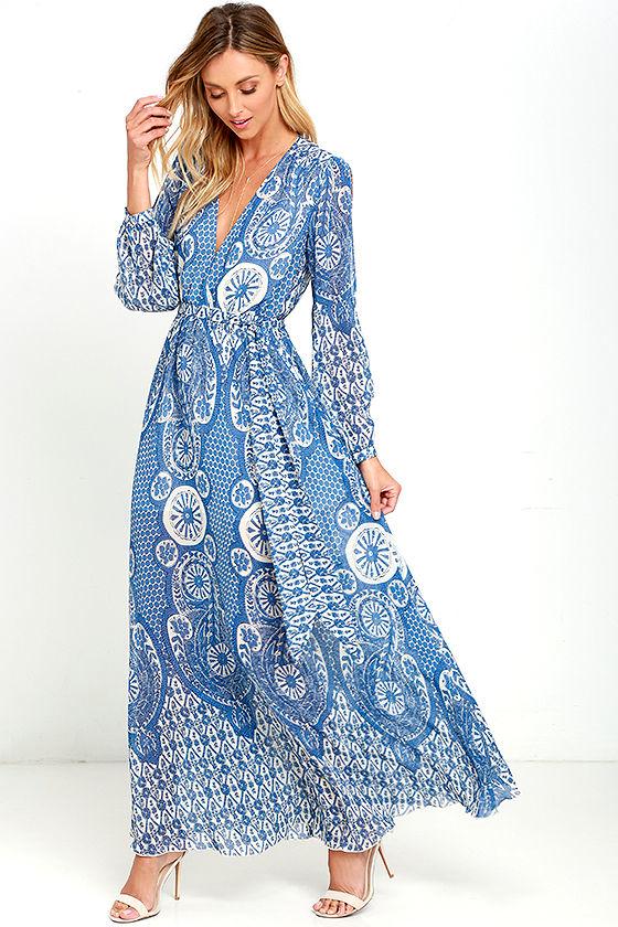 lovely cream and blue dress - print maxi dress - long sleeve maxi